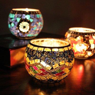 熱銷#馬賽克玻璃燭臺歐式復古擺件禮品爛漫酒吧蠟燭杯家居飾品#燭臺#裝飾