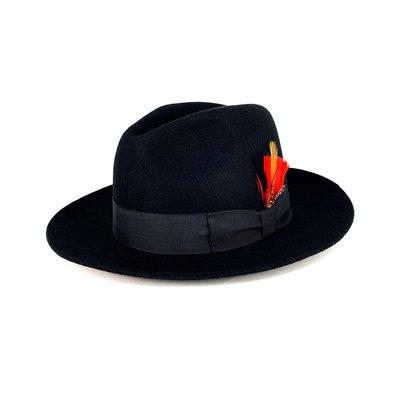☆Yango Wu☆ 紳士帽-大帽沿三凹款 黑色 紳士帽 附贈羽毛 編號:006130