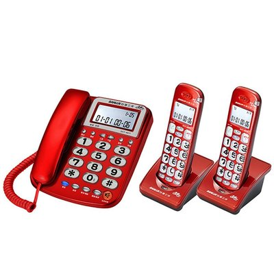 ✿國際電通✿ SANLUX 台灣三洋 DCT-8917-2 數位無線子母機 聽筒加大音量 來電報號 內部對講 (紅/銀)
