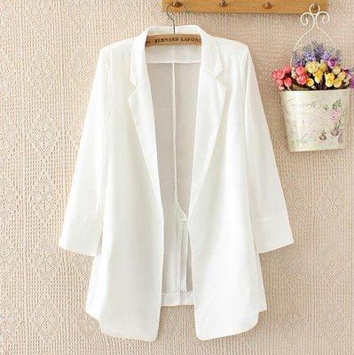 垂感飄逸白色雪紡小西裝外套 女中長款氣質顯瘦西服 春夏防曬外套—莎芭