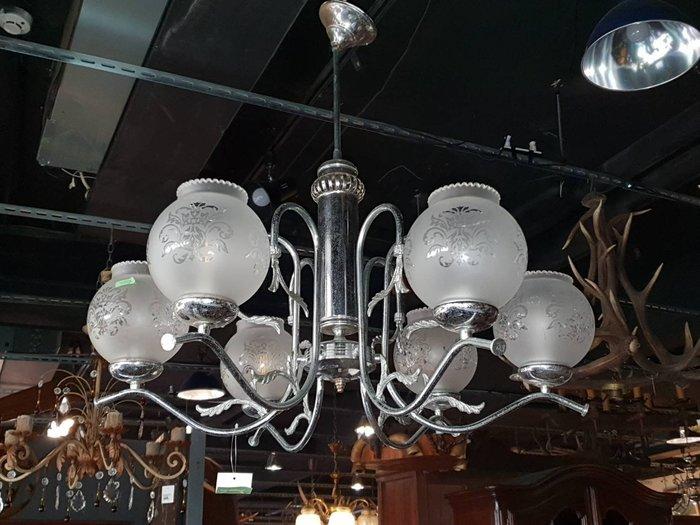 【卡卡頌 歐洲跳蚤市場/歐洲古董】※活動特價※法國老件_金屬雕刻 花邊玻璃燈罩 印花燈罩 個性吊燈 餐廳主燈l0283✬