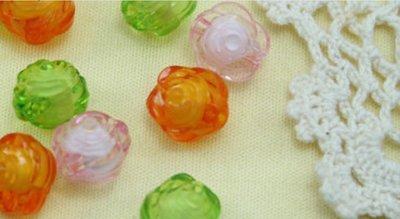 ~麗屋瑄品~diy飾品 亞克力珠子 彩色珠中珠 玫瑰花形手鏈串珠散珠 混色100入 包