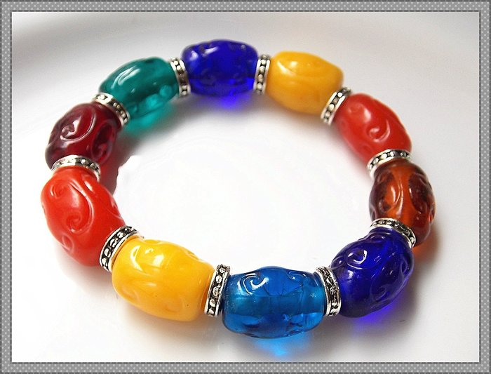 【雅之賞|藏傳|佛教文物】*特賣*老料古法手工魚鱗多色琉璃手珠~102605