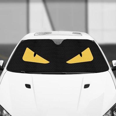 汽車遮陽板小眼睛怪獸車內前擋風玻璃遮陽罩防曬隔熱檔光遮陽板(前檔1片)_☆優購好SoGood☆