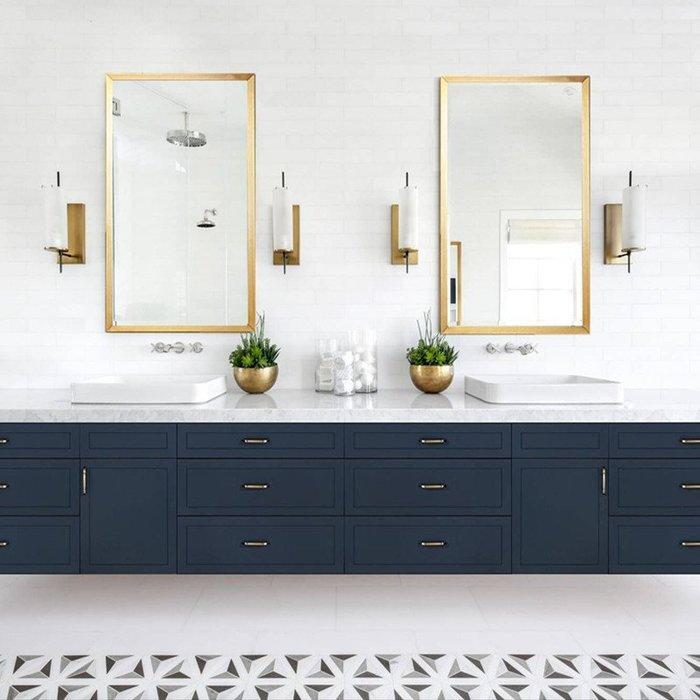 ABOUT。R 長方形金色鏡黑白金掛鏡化妝鏡穿衣鏡工業風掛鏡餐廳咖啡廳廁所浴室掛鏡北歐設計款方形吊鏡髮廊掛鏡(3色可選)