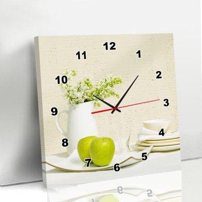 掛鐘 現代簡約客廳無框畫掛鐘表單幅餐廳裝飾畫正方形卡通個性創意壁畫   全館免運