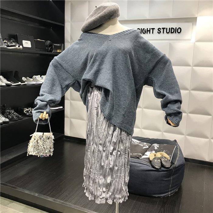 薄外套 外套 衛衣 開衫外套 毛衣秋冬復古V領寬松蝙蝠袖針織毛衣+皺褶絲絨半身裙氣質兩件套裝