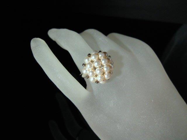 ※水晶玫瑰※ SWAROVSKI 水晶珍珠戒指~ 銀奶油白(HAND48)