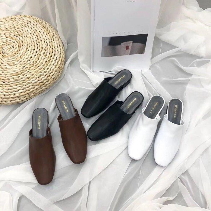 復古穆勒鞋 無后跟秋季新款粗跟包頭半拖女鞋涼拖鞋