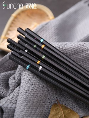 合金筷子無蠟家用日式筷子防滑尖頭不銹合金筷套裝10雙家用-優