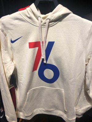 【吉米.tw】Nike NBA 米白 76人隊 刷毛 帽T 長袖 連帽T恤 CD3257-280 DEC