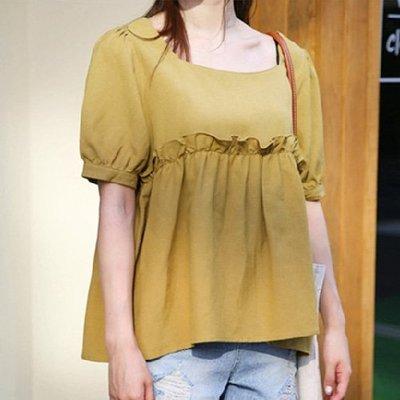 棉麻衫韓風公主袖棉麻衫 荷葉滾邊方領亞麻上衣 艾爾莎【TGK6782】