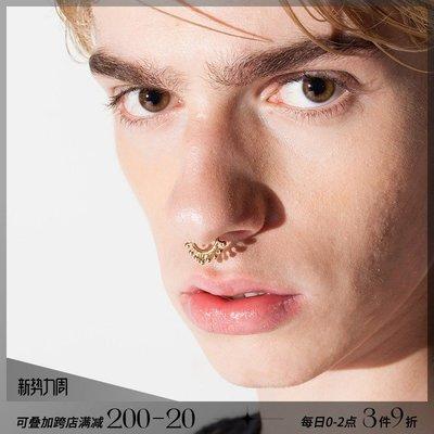 韓風專櫃飾品BLACKHEAD/黑頭設計潮牌夸張創意圓點免穿刺鈦鋼鼻環男女同款個性