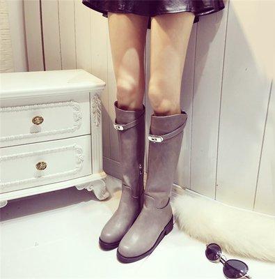 ~Linda~彈力粗中跟長靴 加絨時尚高筒靴 冬季新款 金屬扣高筒瘦腿女靴 雪地靴