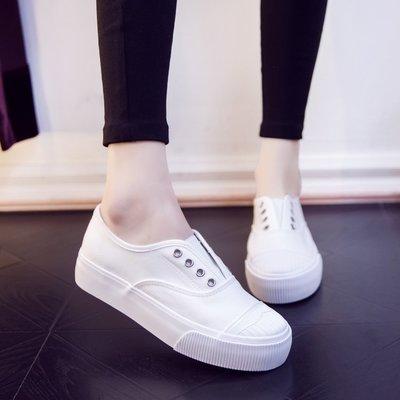 Fashion*韓版帆布鞋 百搭厚底一腳蹬懶人鞋 學生球鞋平底板鞋 休閒小白鞋