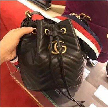 全新正品 Gucci 水桶包 Marmont Quilted Leather Bucket 476674