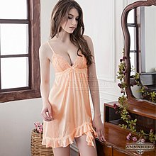 【妮薇NIVIE情趣用品】大尺碼Annabery粉橘氣質柔緞睡衣NY14020068