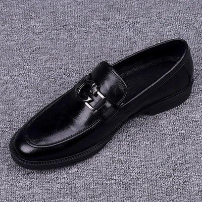 川上潮流頭層牛皮男鞋2020新款純皮透氣黑色百搭正裝商務休閒鞋一腳蹬皮鞋