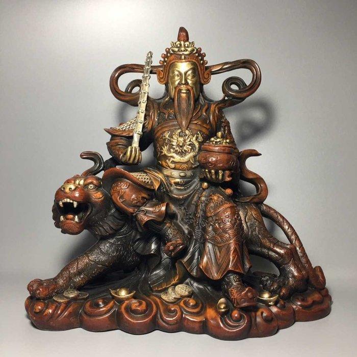 尋古苑 民間收藏老件紫銅鎏金浮雕武財神趙公明神S108-3994