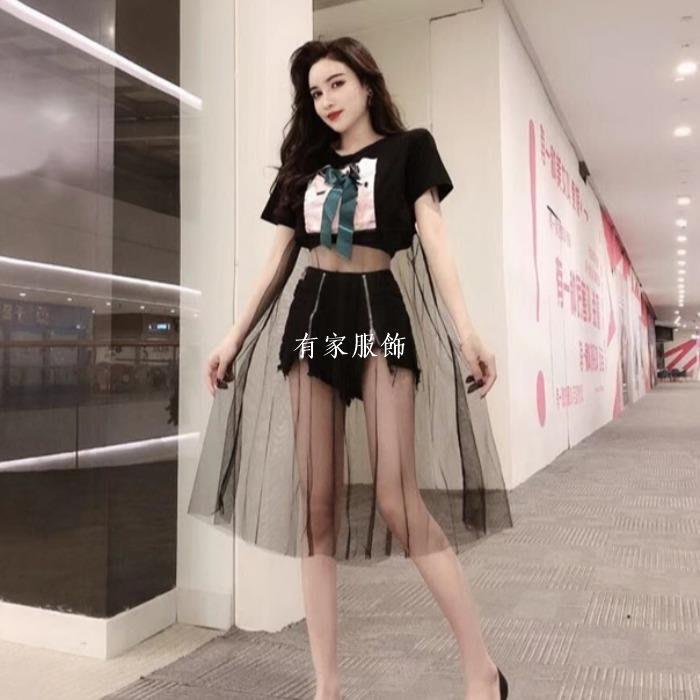 有家服飾2019新款時尚正韓歐貨大版透視網紗拼接寬松T恤短袖上衣春款女裝