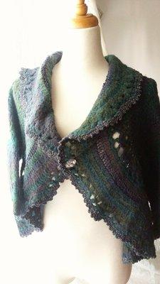 編織披肩 小外套 藍綠色漸層 織花