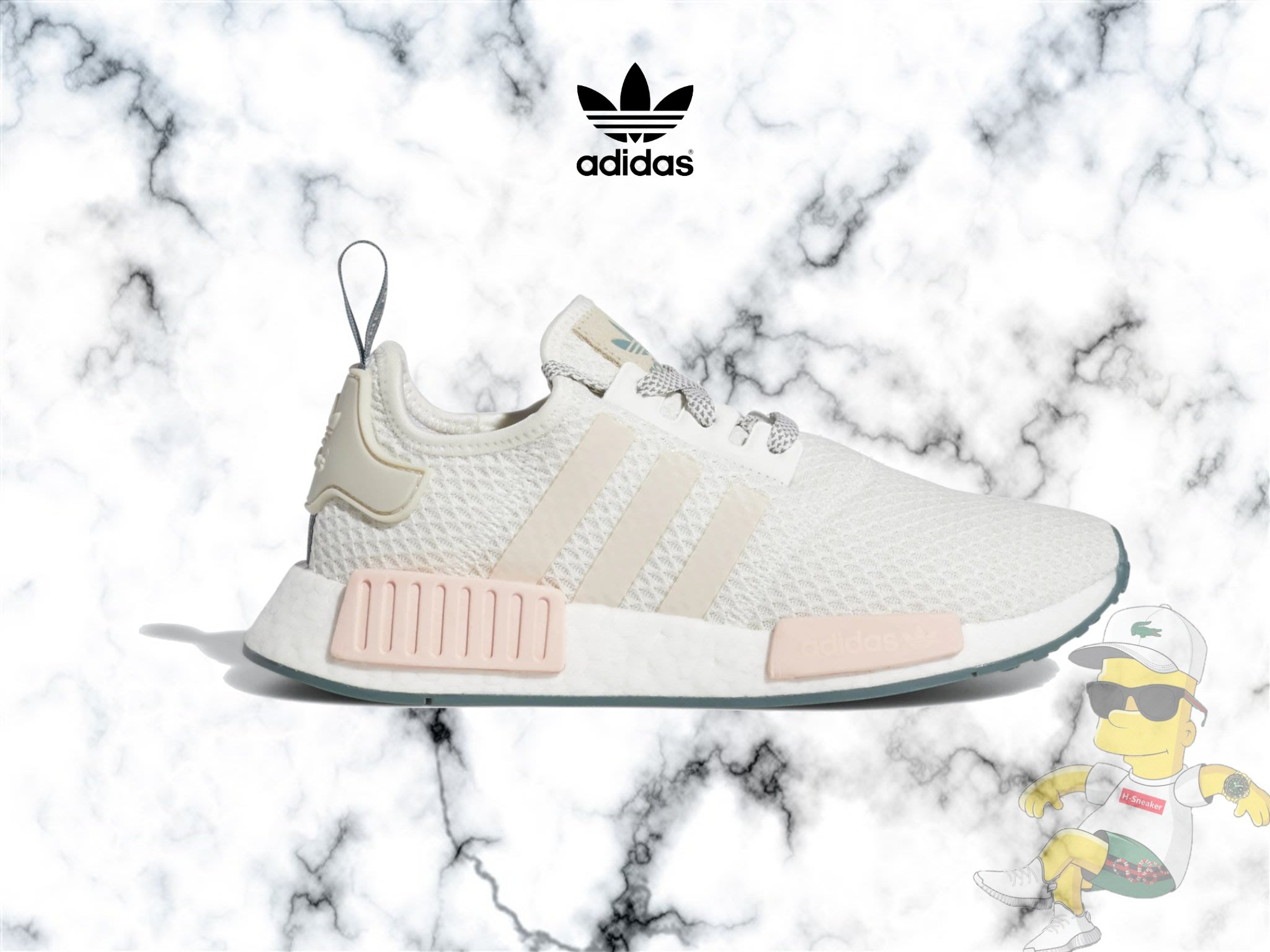 reputable site 476d0 2e27d H-Sneaker】全新ADIDAS ORIGINALS NMD R1 W 粉白灰網布編織女鞋 ...