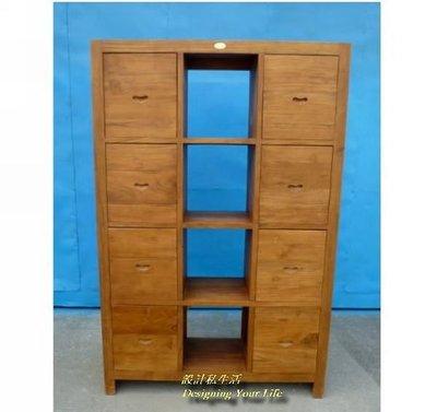 【設計私生活】柚木實木4格8抽書櫃、隔間櫃、屏風櫃(全館一律免運費)