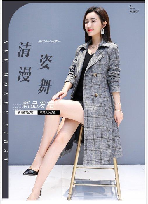 東大門平價鋪  秋季女時尚中長款雙排扣潮流外套,休閒簡約格子長袖風衣