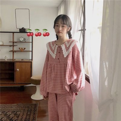 【Sakura】春季韓版套裝甜美公主娃娃領學生兩件套家居服睡衣女休閑睡褲
