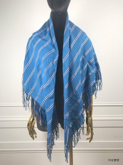 [我是寶琪] DRIES VAN NOTEN 藍色條紋流蘇圍巾