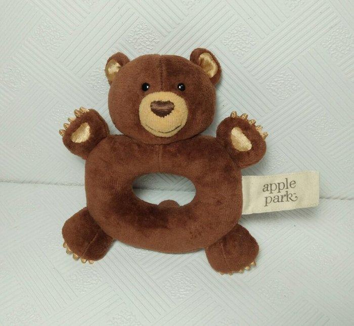 ☆奇奇娃娃屋(RT)☆美國Apple Park品牌,好手感的有機棉手搖鈴啃咬玩具~咖啡色小熊~200元