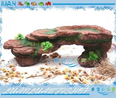 【~魚店亂亂賣~】兩棲爬蟲動物25039仿真階梯岩石曬台特大(紅)曬背台55x24x17cm(烏龜島)水盤/食盤