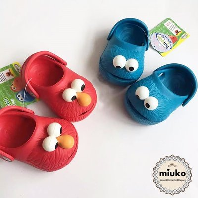 miuko BABY款歐美嬰幼兒男女寶寶 芝麻街ELMO 洞洞鞋 小童涼鞋 兩穿涼鞋 拖鞋 卡通 防水 沙灘鞋