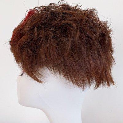 整頂假髮真髮絲短假髮-挑染捲髮蓬鬆時尚女假髮2色73vr19[獨家進口][米蘭精品]
