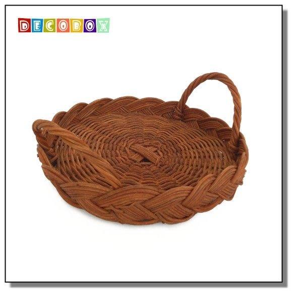 DecoBox休閒風buffet小藤盤(5個) (麵包籃.刀叉置物籃.肉粽籃.調味罐收納籃.杯盤隔熱墊)
