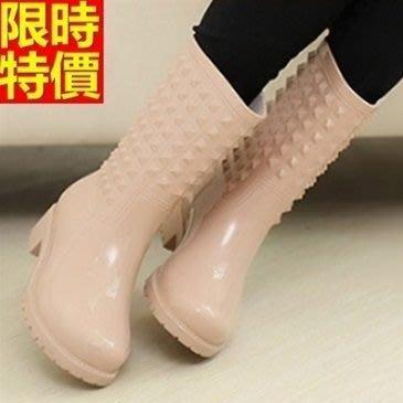 中筒雨靴子 雨具-個性鉚釘歐美潮流女雨鞋子4色66ak18[獨家進口][米蘭精品]