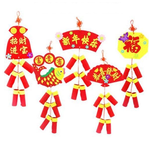 新年六鞭炮不織布吊飾 手做材料包 【NY0034】《Jami Honey》