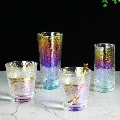 聚吉小屋 #耐熱離子鍍彩虹錘目紋玻璃水杯家用檸檬果汁杯牛奶杯餐廳奶茶杯子