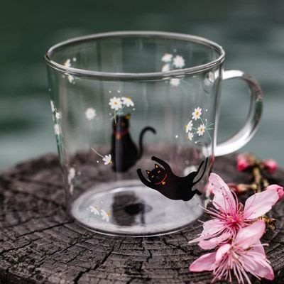 現貨 玻璃杯 馬克杯 黑貓 310ml tuuli  耐熱玻璃杯 手工玻璃杯 咖啡杯 星巴克 7-11  蛙蛙雜貨