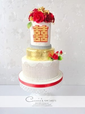 【Connie's Home Sweets】Traditional Chinese theme Wedding Cake 中式雙喜(囍)結婚蛋糕 糖花 Sugar flower