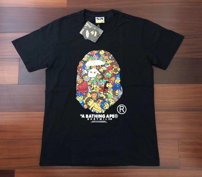 日本制造潮牌bathing ape bape x capcom 游戲機人物街頭霸王猿人頭圖案黑白色短袖T恤tee