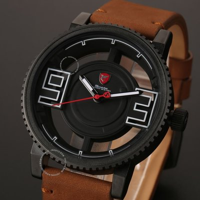 Shark Mens Leather Hollowed Dial Sport Stainless Steel Quartz Analog Wrist 男錶
