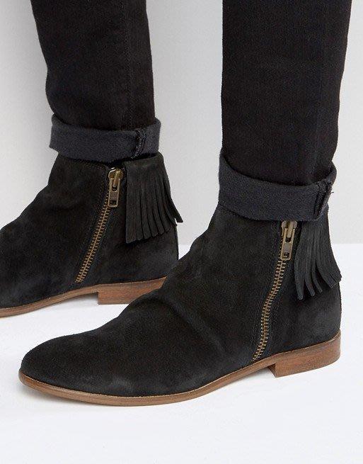 ◎美國代買◎ASOS後跟流蘇裝飾側拉鏈靴筒帥氣雅痞風黑色麂皮流蘇尖頭靴短筒靴~歐美街風~大尺碼