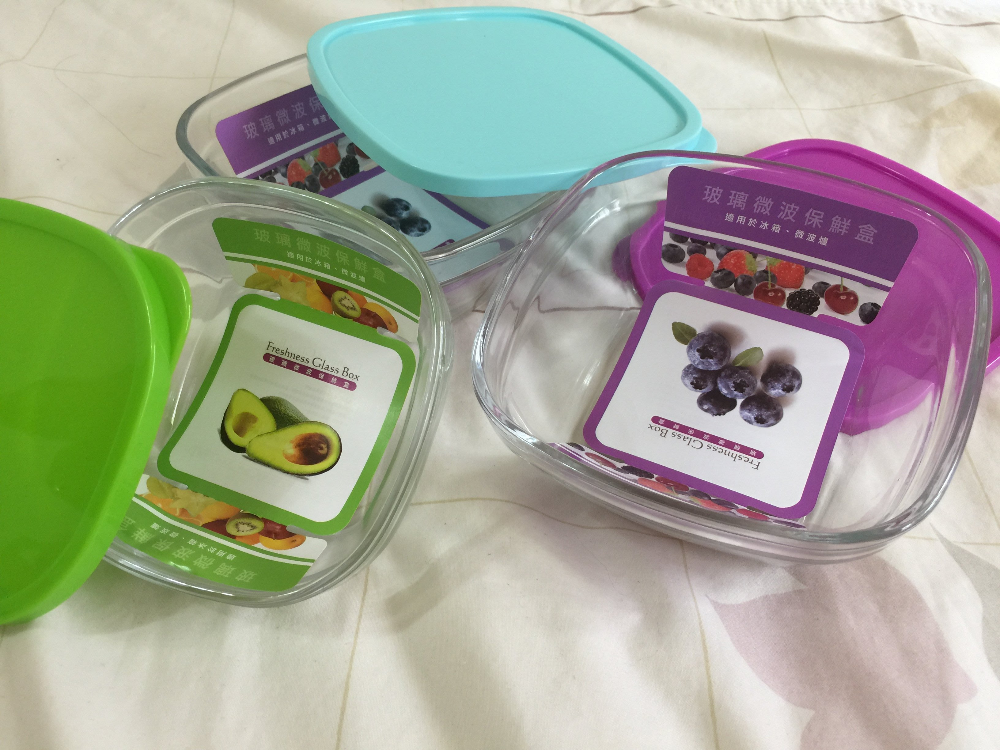 ~Freshness Glass Box。玻璃微波保鮮盒(一組3個)~【吉兒雜貨舖】
