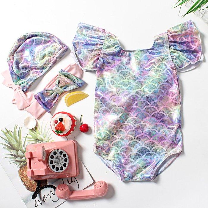 1-2-3-4-5歲女童泳裝 兒童泳衣 美人魚款女寶泳裝#1564