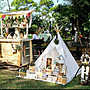 現貨【 Mimi Rabbit 】印地安帳篷 兒童玩具 遊戲屋 原木支架 天然亞麻 野餐【四角亞麻白賣場】免運
