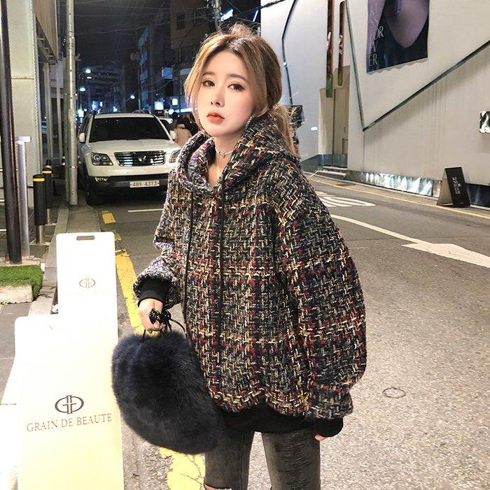 ❤Princess x Shop❤寬鬆保暖格子中長款連身帽TDT18110310正韓國連線毛衣針織秋冬外套洋裝風衣