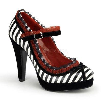 Shoes InStyle《四吋》美國品牌 PIN UP CONTURE 原廠正品條紋瑪麗珍厚底鞋大尺碼『黑白』