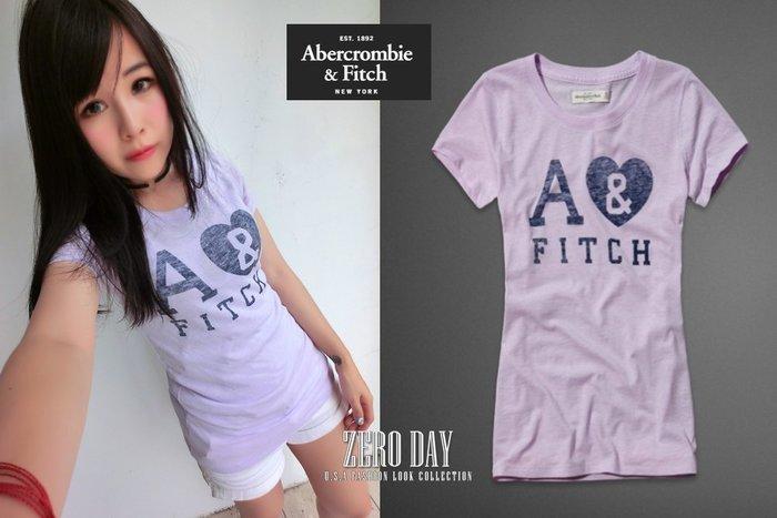 【零時差美國時尚網】A&F Abercrombie&Fitch Marlie Tee馬卡龍色愛心字母美式仿舊圖案短袖T-紫色