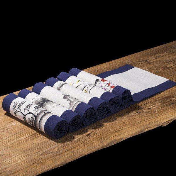 5Cgo【茗道】禅意茶席麻布茶幾布藝餐桌電視櫃桌布中國風茶道旗30X120多款古樸簡約撞色拼接589808158367